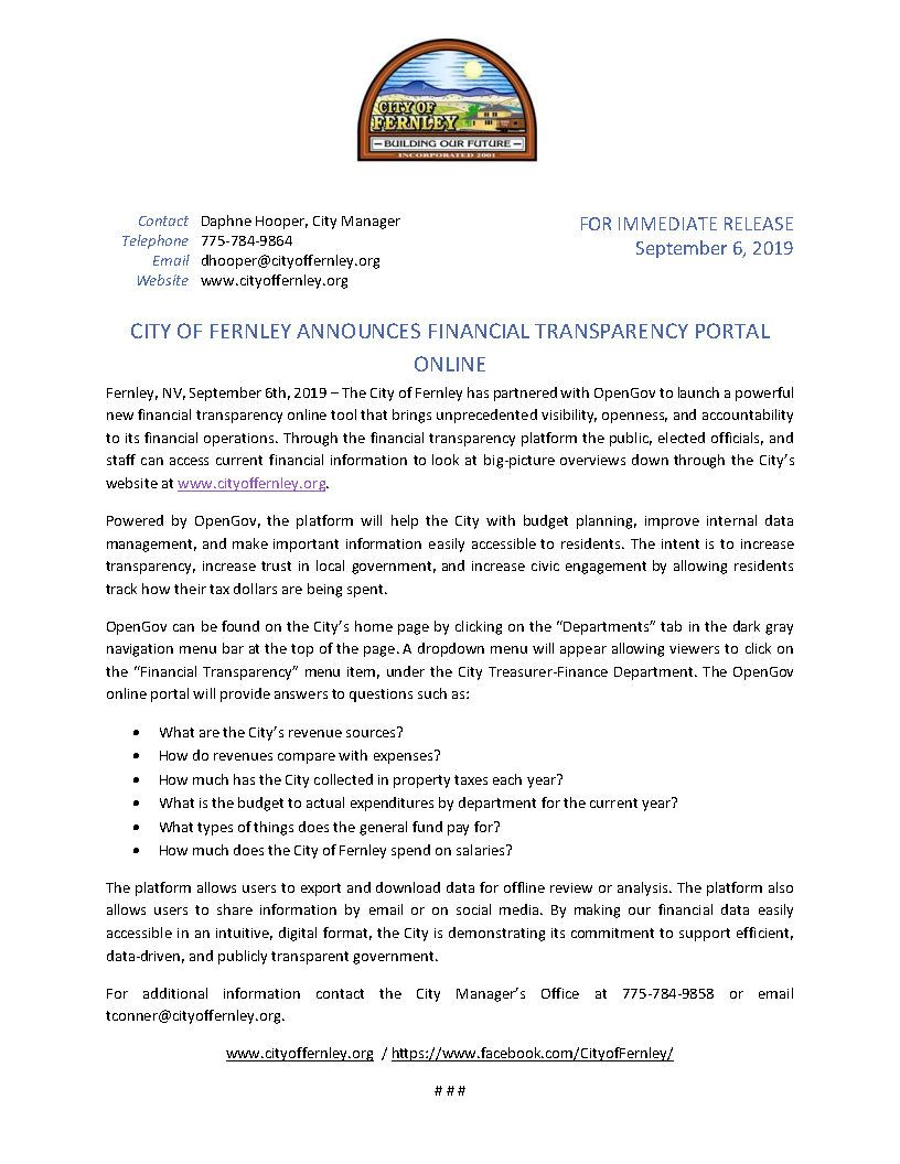 Financial Transparency Press Release