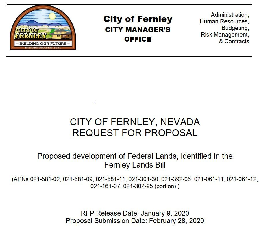 picture of Fernley Land Bill RFP