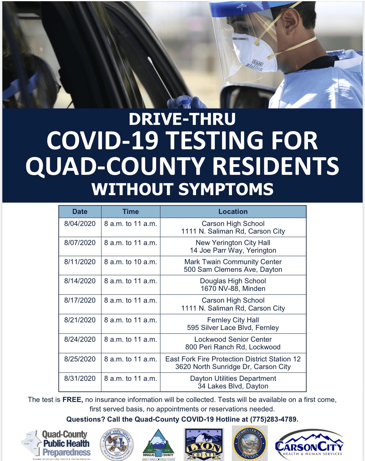 COVID19 Testing for Quad County Residents wo symptoms